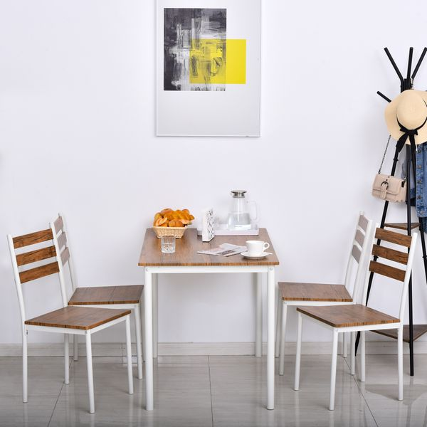 HOMCOM Modern 5-Piece Wooden Dining Kitchen table set 1 Table 4 Chairs Metal legs White for Home | Aosom Canada