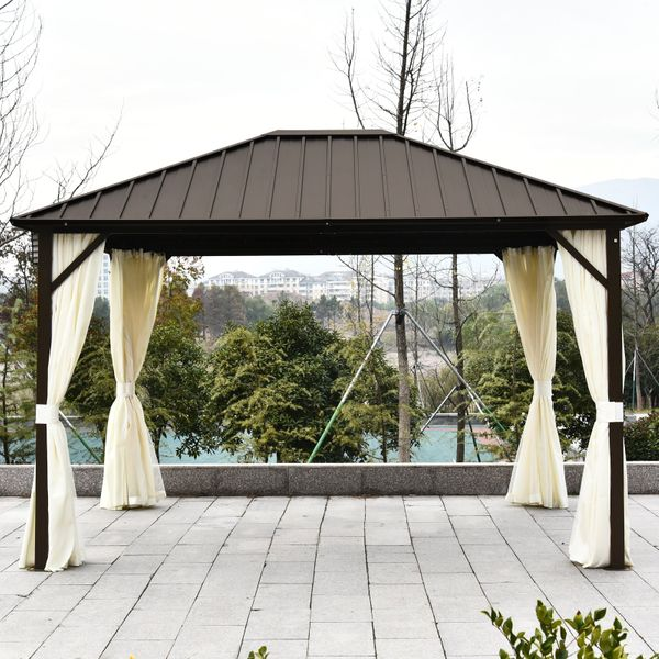 Outsunny 12'x9.8' Outsunny Hardroof Gazebo aluminum frame with galvanized steel hardtop zipper netting and curtains Beige/Bronze|Aosom Canada