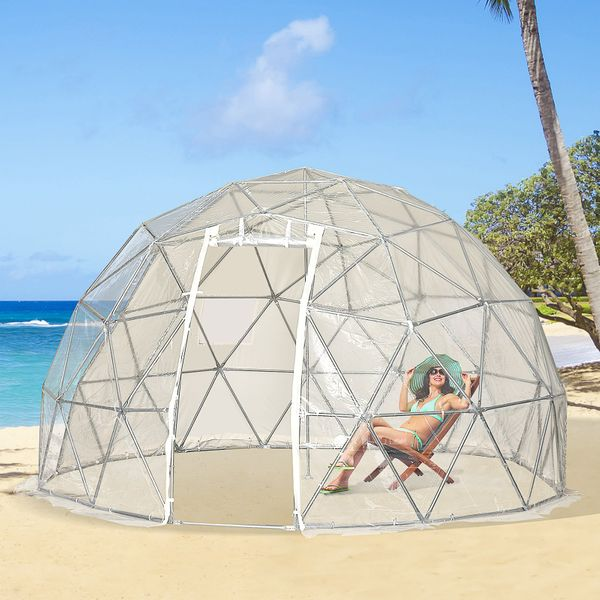 Outsunny Garden Dome Igloo Tent Half Ball Shape Greenhouse Luxury Glamping Tent Outdoor Half Transparent Home Greenhouse|AOSOM.CA