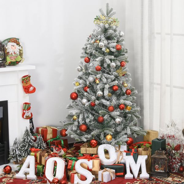 HOMCOM HOMCM 5ft Artificial Snow-Flocked Tree Holiday Home Indoor Christmas Decoration with Metal Feet  Green | Aosom Canada