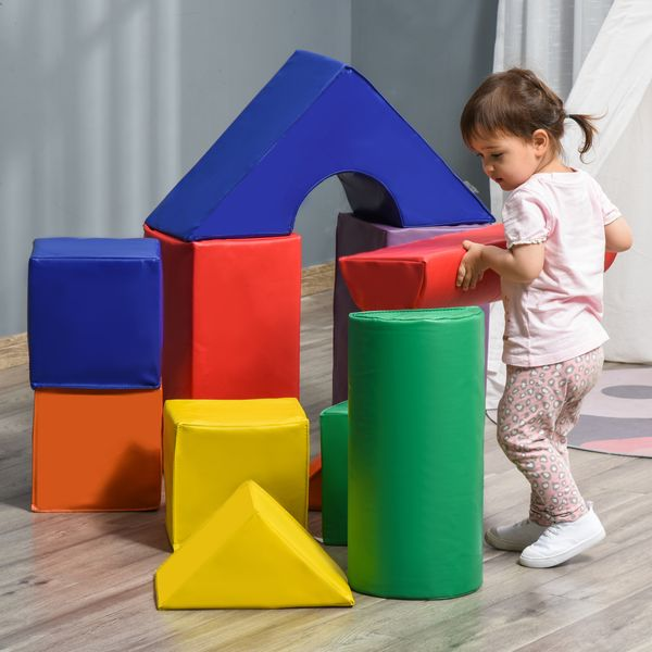 Soozier 11 Piece Soft Play Blocks Kids Climb and Crawl Gym Toy Foam Building and Stacking Blocks Non-Toxic Learning Play Set Educational Software Activity Toy Brick Baby Soft Climbing Block