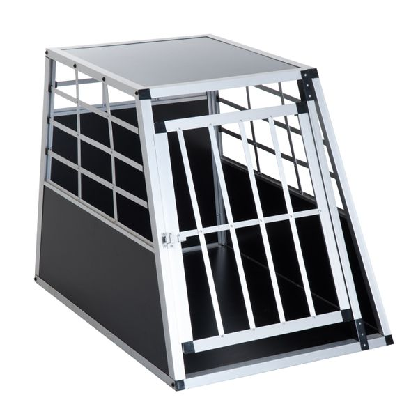 "PawHut Dog Car Crate 36"" Aluminum Dog Cage Pet Travel Tapered Roof Cat Transport Box Pet Kennel Playpen