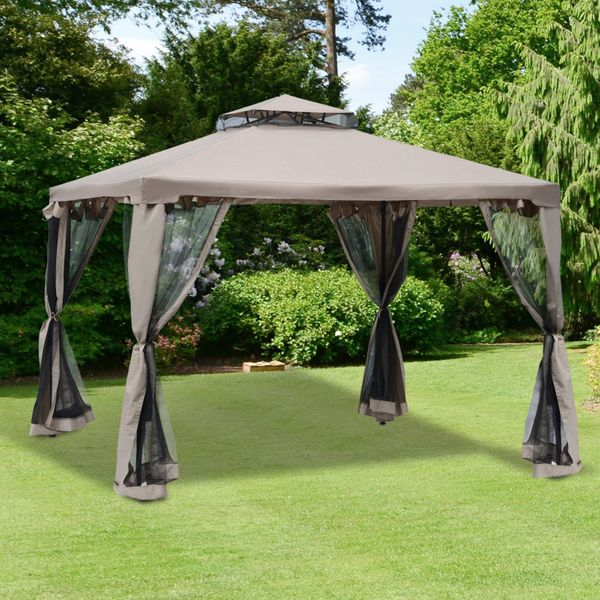 Outsunny 10' x 10' Outdoor Patio Gazebo Pavilion Canopy Tent Steel w/ Mosquito Netting|AOSOM.CA