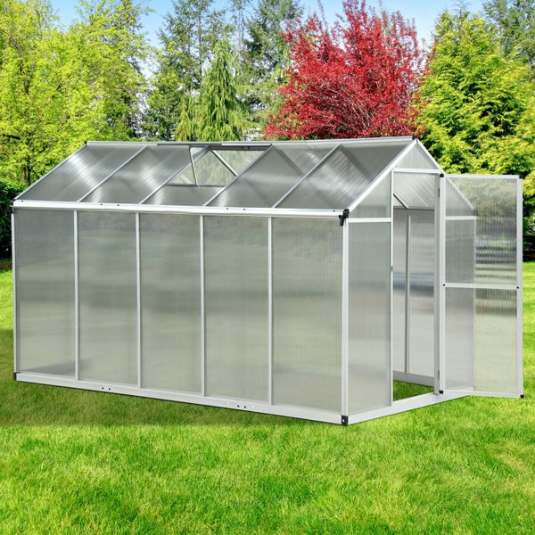 Outsunny 10'x6.25'x6.4' Walk-in Garden Greenhouse Shed Polycarbonate Panels Plants Flower Growth Shed Cold Frame Outdoor Portable Warm House Aluminum Frame|AOSOM.CA