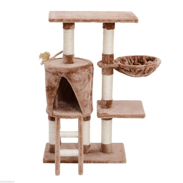 PawHut Cat Tree Scartching Condo Furniture 37.8ᄀᄆ Activity Tower Center Pet Kitty Sisal Post W/ Ladder Hammock Brown | Aosom Canada