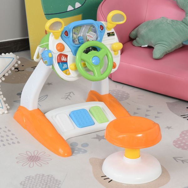 Qaba Simulated Cab Set With Stool  Driving Game Pretend Play Toy Steering Wheel  for Kids 3-8 Years ABS W/   Aosom Canada