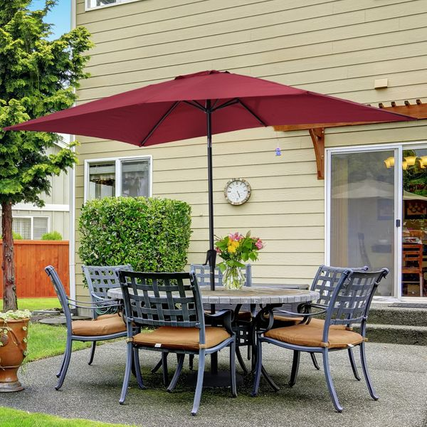 Outsunny 6.5x10ft Rectangle Aluminum Tilt Patio Umbrella Garden Market Parasol with Crank UV-protected and Waterproof Wine Red|Aosom.ca