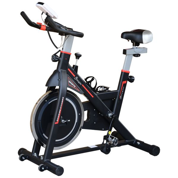 Soozier Upright Exercise Bike w/ LCD Stationary Monitor Indoor Cycling Bicycle Cardio Workout Trainer Black|Aosom Canada