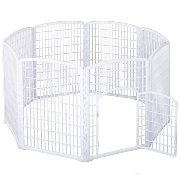 PawHut 8 Panel Dog Playpen Octagon Plastic Pet Crate Kennel Small Animals Portable Indoor White|AOSOM.CA