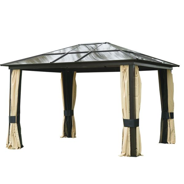 Outsunny 12x10ft Hard Top Patio Garden Outdoor Gazebo Canopy Sunshelter Waterproof Sun Shade with Sidewalls and Mosquito Netting | Aosom Canada