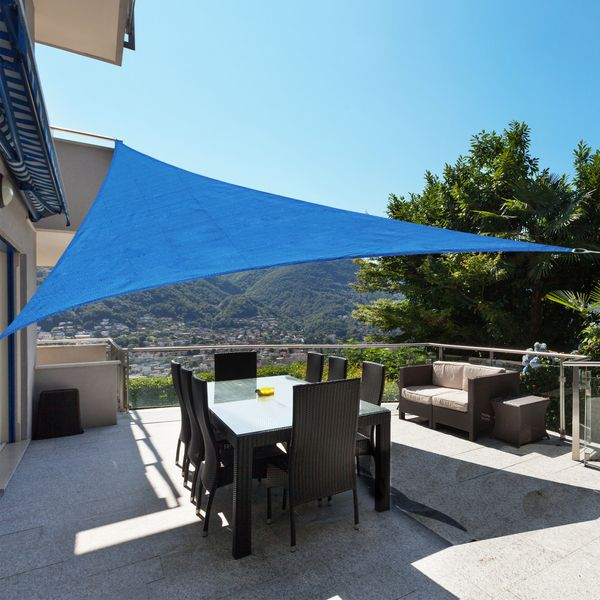 Outsunny 12 ft Triangle Sun Shade Sail Shelter Canopy Blue +Carrying bag|Aosom Canada