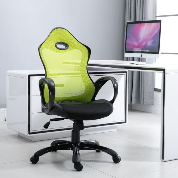 Vinsetto Executive Adjustable Office Chair Mid Back Rocking Chair with Wheels Neon Color AOSOM.CA