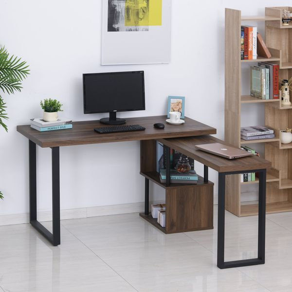 HOMCOM 360° Rotating Corner Desk L-Shaped PC Workstation Student Writing Table with Storage Shelf Home Office Brown Computer   Aosom Canada