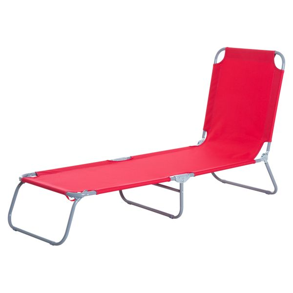 Outsunny Folding Portable Beach Lounger Outdoor Reclining Chair Patio Garden Sun Lounge Bed Camping Cot Red|Aosom Canada