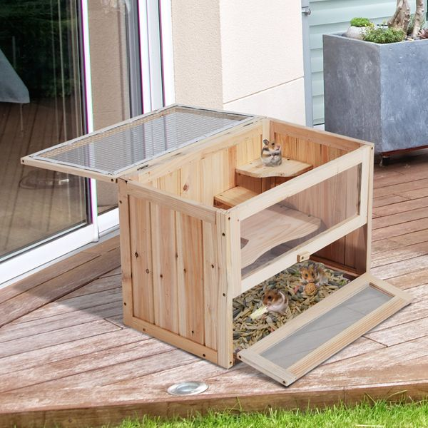 PawHut Wooden Hamster Cage 2 Levels Small Animals | Aosom Canada