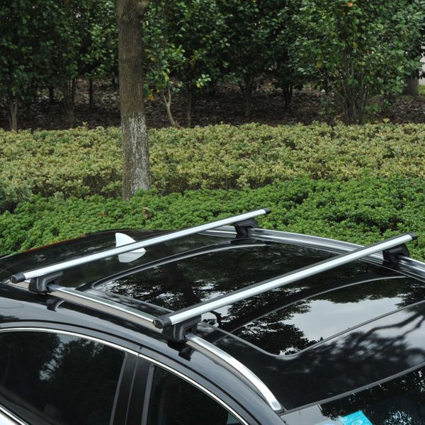 "Outsunny 53"" Roof Rack Roof Top 2 PC Aluminum Cross Bars Lockable Adjustable Baggage Luggage Rack, Silver 