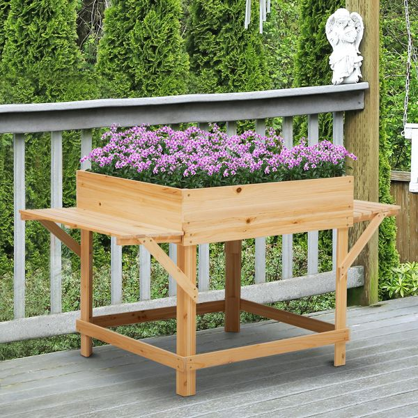 """Outsunny Raised Garden Planter Bed with Non-woven Fabric Bag  Flower Box for Growing Herbs & Plants  Solid Wood Construction 51.5"""" x 29.5"""" x 29.5"""" Wooden w/   Aosom Canada"""