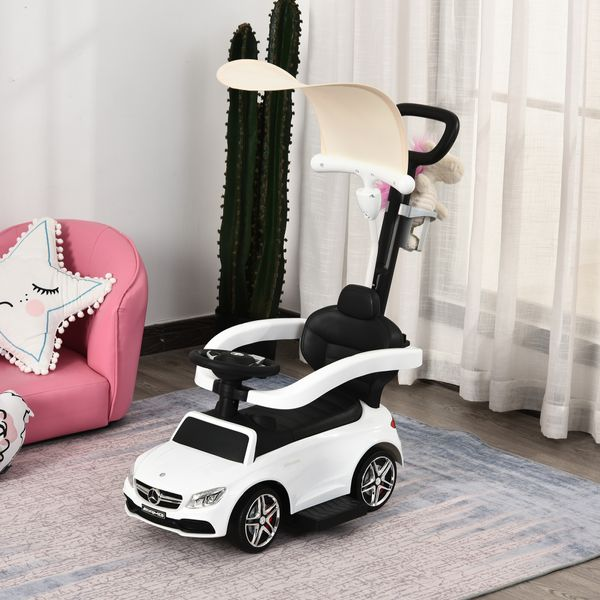 Aosom 3 in 1 Ride on Push Car Mercedes Benz for Toddlers Stroller Sliding Walking Car with Sun Canopy Horn Sound Safety Bar Cup Holder Ride on Toy for 1-3 Years Old Boy Girl White w/ Red   Aosom Canada