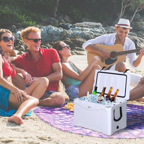 Outsunny 50 Quart Heavy Duty Ice Cooler Outdoor Insulated Cooling Box Portable White 50Q|AOSOM.CA