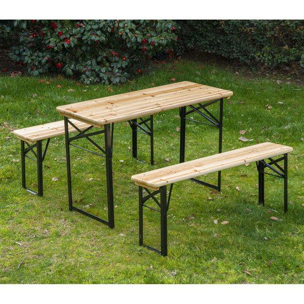 """Outsunny 71"""" Portable Heavy Duty 3 Pieces Picnic Beer Table and Bench Set Wood 