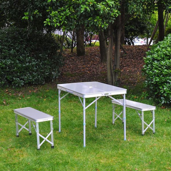 Outsunny Adjustable Folding Picnic Table Seating Set Portable Camping Garden Chair with 4 Seats W/ Umbrella Hole | Aosom Canada