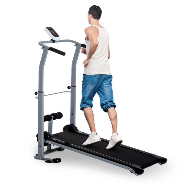 Soozier Manual Walking Treadmill Sit Up Station 2-in-1 Portable Incline Sit-up Machine Folding Cardio Fitness Exercise Home Gym Machine Grey|Aosom Canada
