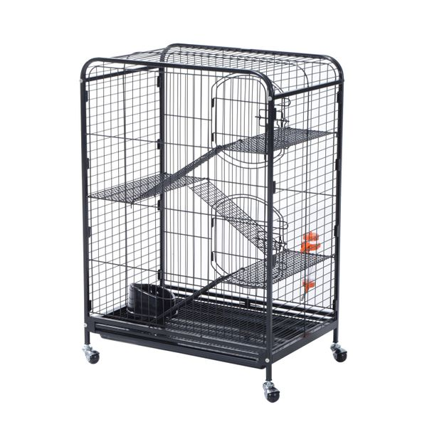 "PawHut Pet Cage 37"" 2 Doors Metal Cat Rabbit House Playpen For Animals Supply Kit Black 