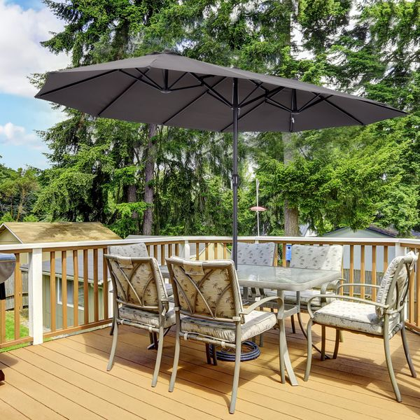Outsunny 15' Double-Sided Patio Umbrella Parasol Sun Shelter Canopy Shade for Outdoor Indoor | Aosom Canada