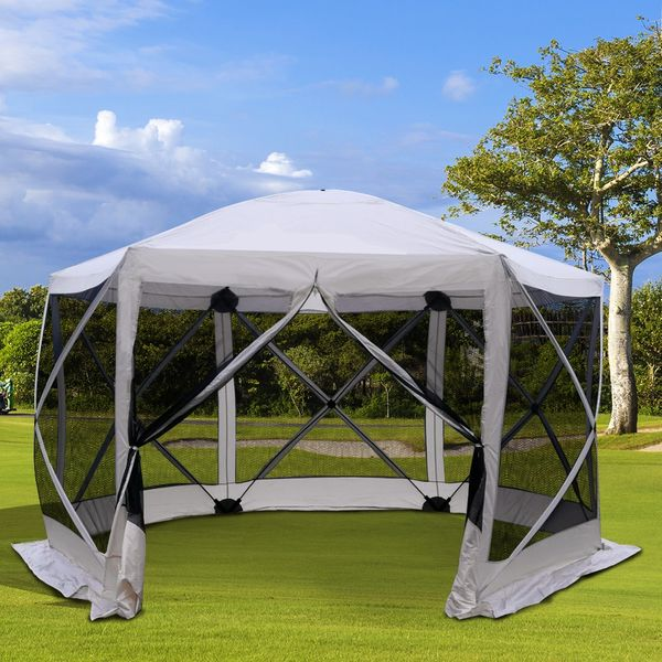 Outsunny Automatic Hexagon Pop Up Screen Tents w/ Mesh Sidewalls | Aosom Canada