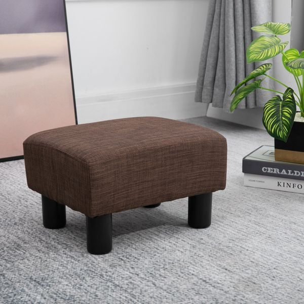 "HOMCOM 15"" Rectangular Linen Padded Ottoman Footrest Stool Modern Entryway Living Room Seat Chair