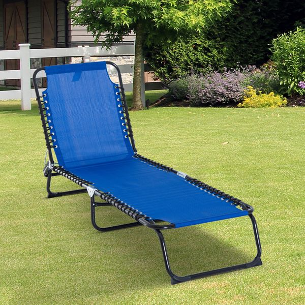 Outsunny Reclining Lounger Cot Adjustable Folding Beach Bed Camping Hiking Lightweight Portable Backyard Navy Blue|Aosom Canada