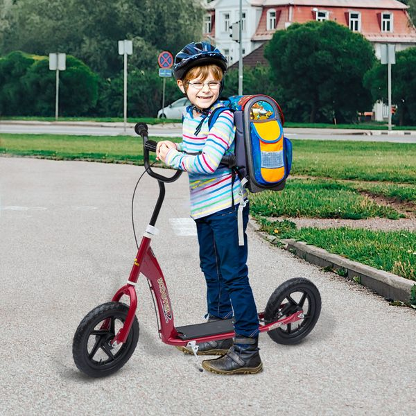 """HOMCOM Adjustable Kids Pro Stunt Scooter Children Street Bike Bicycle Ride On with 12"""" Tire Red"""