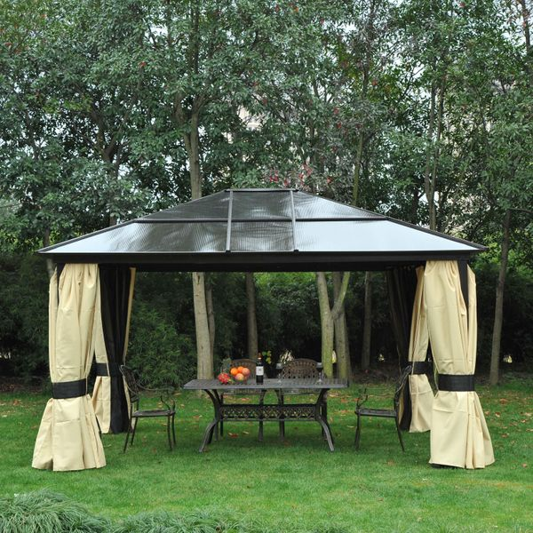 Outsunny 14'x12' Deluxe Hard Top Patio Gazebo Canopy Garden Aluminum Shelter with Sunshine Board, Curtains and Mosquito Netting