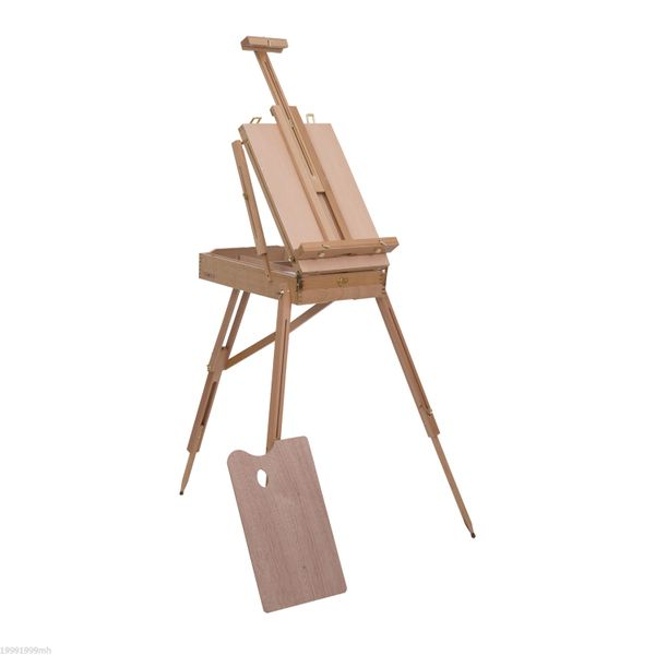 HOMCOM Folding Wood French Artists Easel Set Portable Art Painters Tripod Sketch Craft Stand Beech Wooden Box w/ Pallet | Aosom Canada
