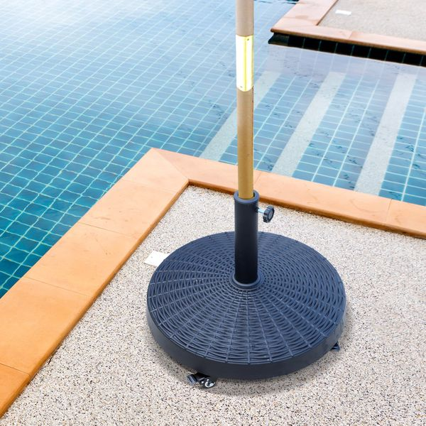 """Outsunny 20.5"""" Resin Patio Umbrella Base Weight Stand Deck Parasol w /Wheels"""
