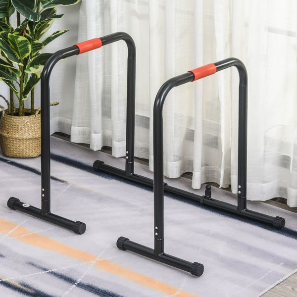 HOMCOM Multifunctional Dip Stand Station for Home Gym Fitness Equipment with Safety Connector for Tricep Dips | Aosom Canada