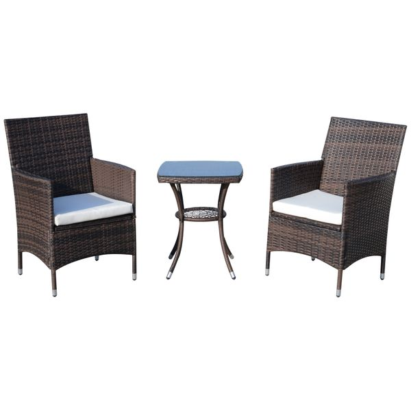 Outsunny 3 Piece Patio Set Wicker Coffee Set Wicker Bistro Patio Garden Furniture All Weather Table | Aosom Canada
