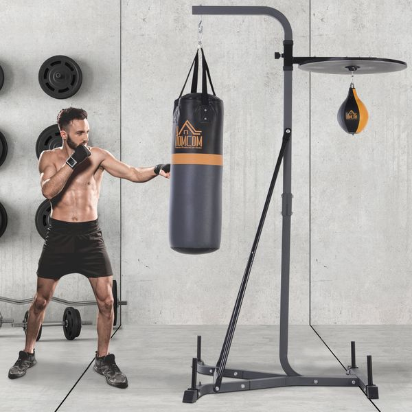 "HOMCOM Punching Bag Holder Punching Bag Stand with Punching Ball 41""L x 61.5""D x 79.5""H Load 220lb 