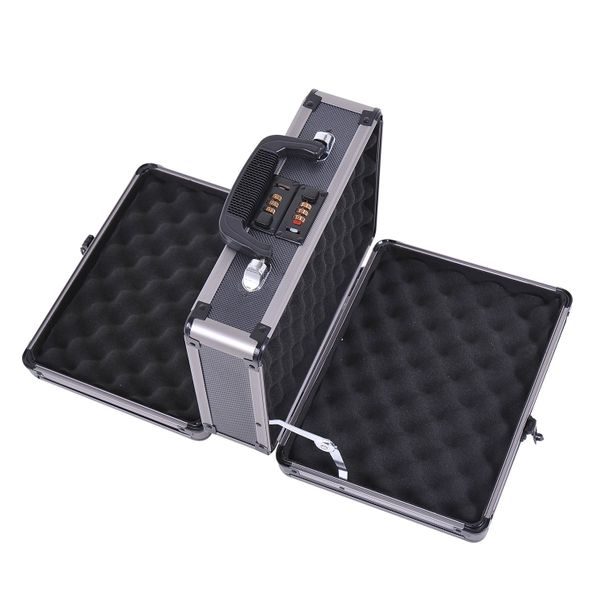 HOMCOM Double Locking Sided Hard Pistol Handgun Case Gun Safe Carry Storage Box with Code Set|Aosom Canada