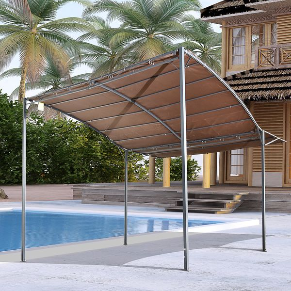 Outsunny Patio Metal Gazebo Wall Mount Door Window Awning Outdoor Shelter Brown Overhead | Aosom Canada