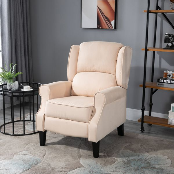 HOMCOM Leather Recliner Sofa Heated Vibrating Suede Massage Chair Adjustable Armchair Lounge w/ Remote Control Beige|Aosom Canada