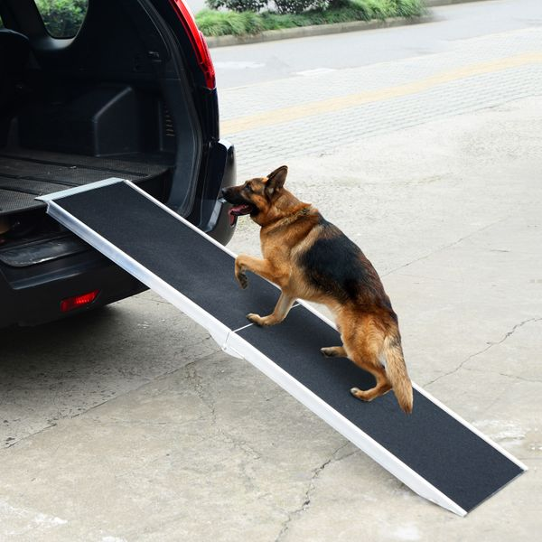 "PawHut 72"" Bi-Fold Pet Ramp Portable Dog Cat Steps Travel Gear Vehicle Car Truck Compact Storage Folding Stairs Black/Silver 