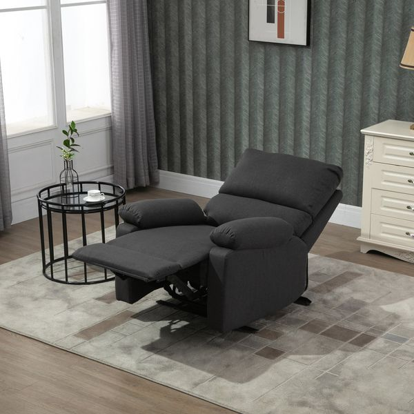 HOMCOM Single Recliner Sofa Lounge Linen Fabric Manual Adjustable Reclining Armchair with Padded Back for Home Theater  Living Room  Charcoal Grey & Bedroom   Aosom Canada
