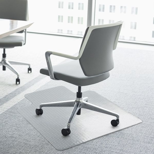 HOMCOM 35x47Inch Hard Floor Lipped Office Chair Mat Protective Carpets Floor Cover for Low Pile Carpet Frosted Transparent