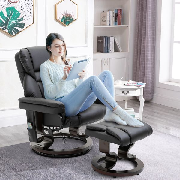 HOMCOM Massage Sofa Recliner Chair PU Leather with Footrest 10 Vibration Point Faux Black   Aosom Canada