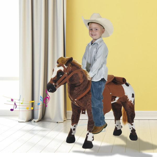 Qaba Standing Ride on Horse Children Cowboy Plush Pony Toy w/ Neighing Sound Brown