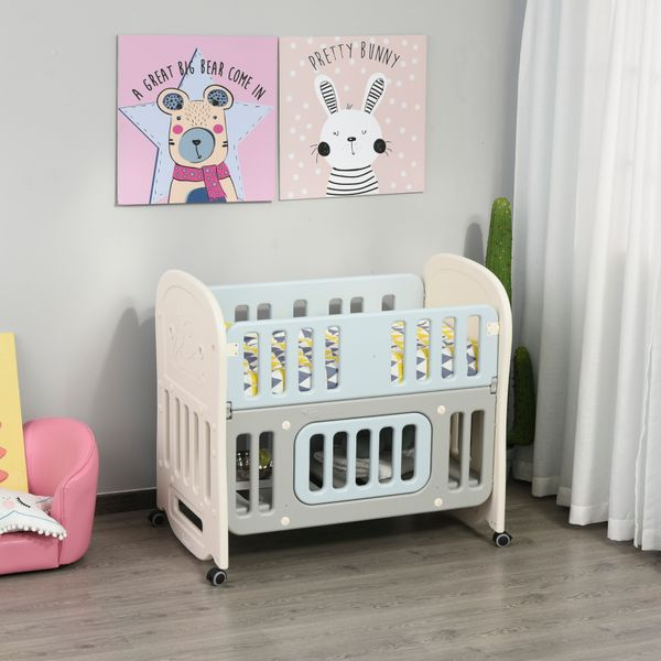 Qaba Baby Crib 3 In 1 Design Toddler Cot Cradle Beside Sleeping Cot with Storage Function Detachable Lockable Wheels for Infant Newborn Age 0 to 3 Years old w/ | Aosom Canada