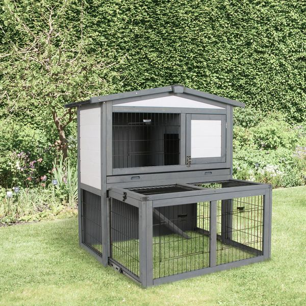 PawHut Wooden 2 Story Rabbit Hutch with Outdoor Run  Open Roof