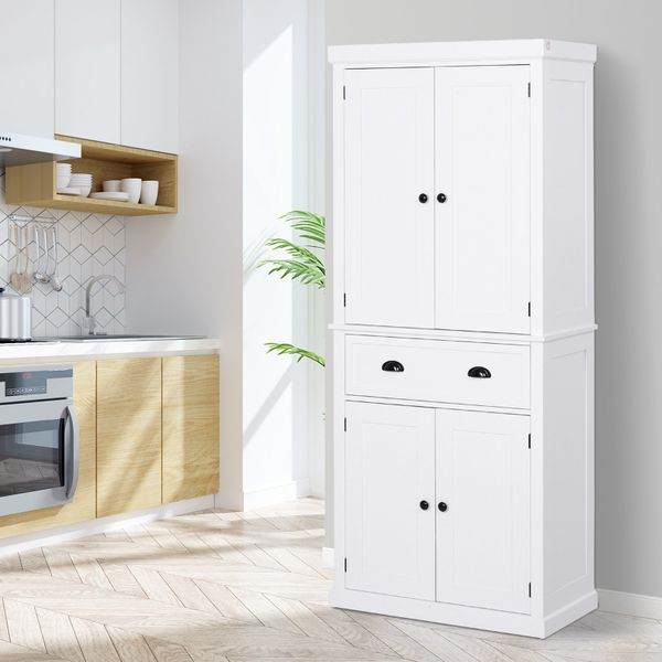 HOMCOM Long Standing Kitchen Cabinet w/ 2 Drawers MDF Board White|Aosom Canada