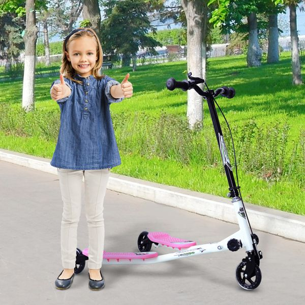 HOMCOM Foldable Children Tri Scooter 3 Wheels Speeder Slider Winged Push Motion Pink | Aosom Canada